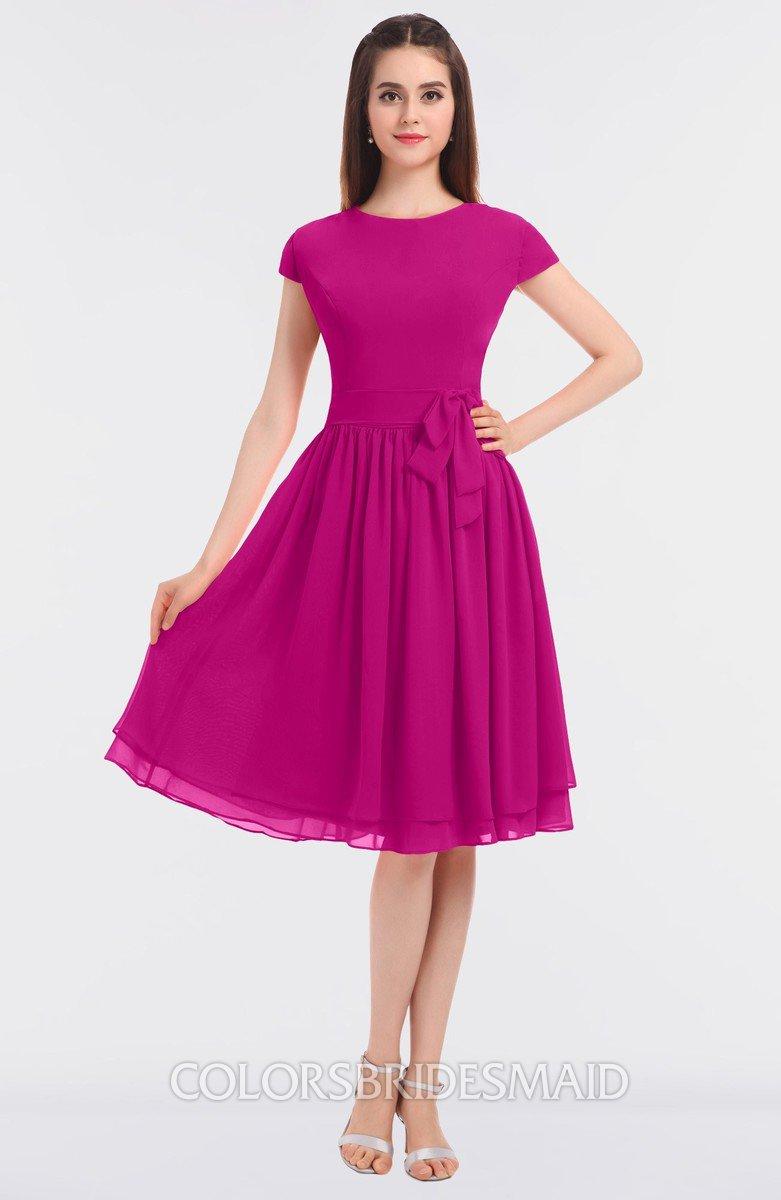 4ec64af7866 ColsBM Bella Hot Pink Modest A-line Short Sleeve Zip up Flower Bridesmaid  Dresses