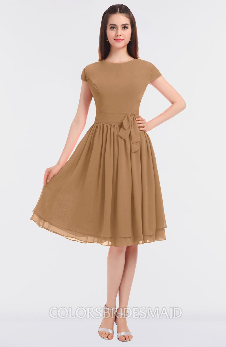 Colsbm Bella Light Brown Modest A Line Short Sleeve Zip Up Flower Bridesmaid Dresses