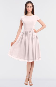 ColsBM Bella Light Pink Modest A-line Short Sleeve Zip up Flower Bridesmaid Dresses