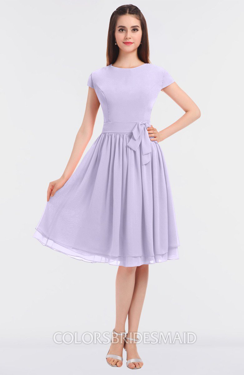 27ca03f18c1 ColsBM Bella Light Purple Modest A-line Short Sleeve Zip up Flower Bridesmaid  Dresses