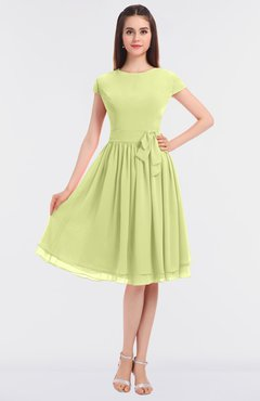 ColsBM Bella Lime Green Modest A-line Short Sleeve Zip up Flower Bridesmaid Dresses