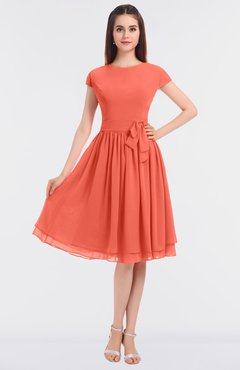 ColsBM Bella Living Coral Modest A-line Short Sleeve Zip up Flower Bridesmaid Dresses