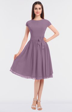 ColsBM Bella Mauve Modest A-line Short Sleeve Zip up Flower Bridesmaid Dresses