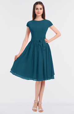 ColsBM Bella Moroccan Blue Modest A-line Short Sleeve Zip up Flower Bridesmaid Dresses