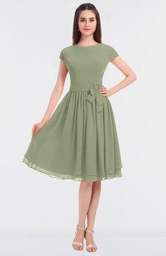 ColsBM Bella Moss Green Modest A-line Short Sleeve Zip up Flower Bridesmaid Dresses