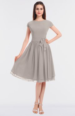 ColsBM Bella Mushroom Modest A-line Short Sleeve Zip up Flower Bridesmaid Dresses
