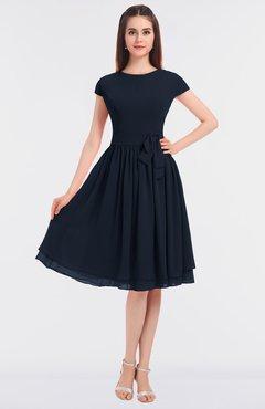 ColsBM Bella Navy Blue Modest A-line Short Sleeve Zip up Flower Bridesmaid Dresses