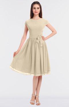 Modest A-line Short Sleeve Zip up Flower Bridesmaid Dresses