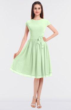 ColsBM Bella Pale Green Modest A-line Short Sleeve Zip up Flower Bridesmaid Dresses