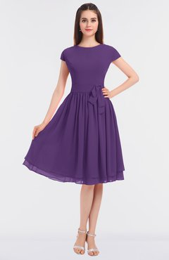 ColsBM Bella Pansy Modest A-line Short Sleeve Zip up Flower Bridesmaid Dresses