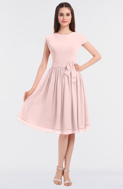 ColsBM Bella Pastel Pink Modest A-line Short Sleeve Zip up Flower Bridesmaid Dresses