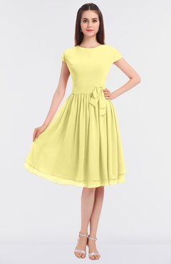ColsBM Bella Pastel Yellow Modest A-line Short Sleeve Zip up Flower Bridesmaid Dresses