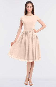 ColsBM Bella Peach Puree Modest A-line Short Sleeve Zip up Flower Bridesmaid Dresses