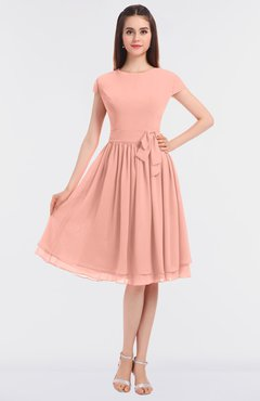 ColsBM Bella Peach Modest A-line Short Sleeve Zip up Flower Bridesmaid Dresses