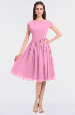 ColsBM Bella Pink Modest A-line Short Sleeve Zip up Flower Bridesmaid Dresses