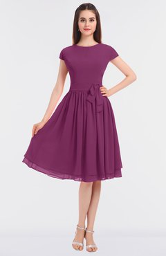 ColsBM Bella Raspberry Modest A-line Short Sleeve Zip up Flower Bridesmaid Dresses