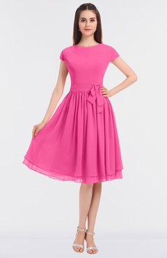 ColsBM Bella Rose Pink Modest A-line Short Sleeve Zip up Flower Bridesmaid Dresses