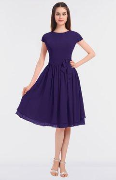ColsBM Bella Royal Purple Modest A-line Short Sleeve Zip up Flower Bridesmaid Dresses