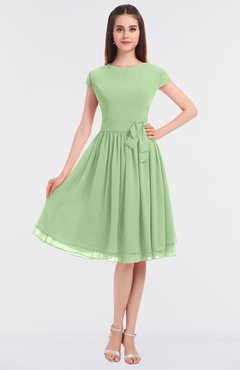 ColsBM Bella Sage Green Modest A-line Short Sleeve Zip up Flower Bridesmaid Dresses