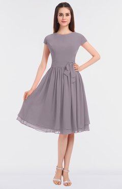 ColsBM Bella Sea Fog Modest A-line Short Sleeve Zip up Flower Bridesmaid Dresses