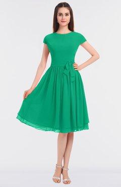 ColsBM Bella Sea Green Modest A-line Short Sleeve Zip up Flower Bridesmaid Dresses