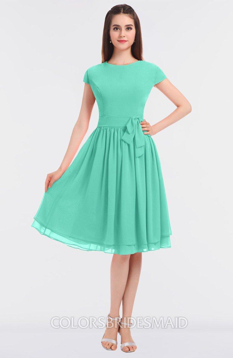 Colsbm Bella Seafoam Green Modest A Line Short Sleeve Zip Up Flower Bridesmaid Dresses