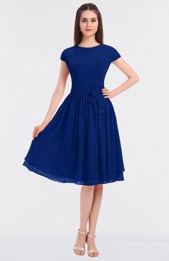 ColsBM Bella Sodalite Blue Modest A-line Short Sleeve Zip up Flower Bridesmaid Dresses