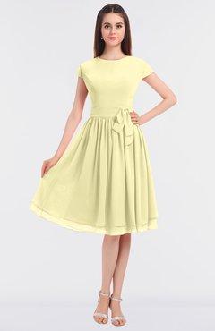 ColsBM Bella Soft Yellow Modest A-line Short Sleeve Zip up Flower Bridesmaid Dresses