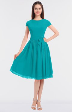 ColsBM Bella Teal Modest A-line Short Sleeve Zip up Flower Bridesmaid Dresses
