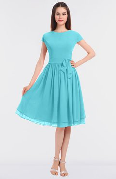 ColsBM Bella Turquoise Modest A-line Short Sleeve Zip up Flower Bridesmaid Dresses