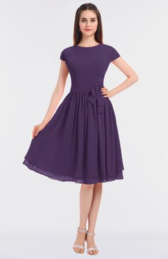 ColsBM Bella Violet Modest A-line Short Sleeve Zip up Flower Bridesmaid Dresses
