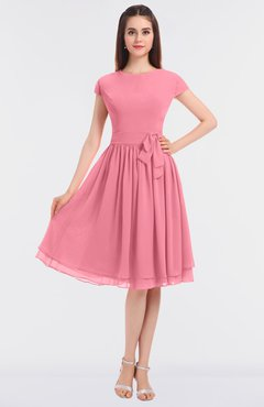 ColsBM Bella Watermelon Modest A-line Short Sleeve Zip up Flower Bridesmaid Dresses