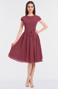 ColsBM Bella Wine Modest A-line Short Sleeve Zip up Flower Bridesmaid Dresses