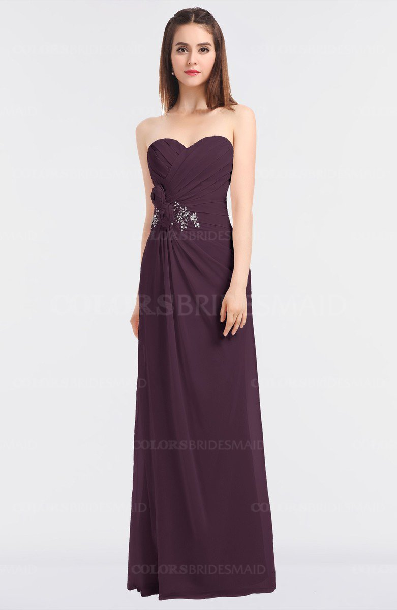 0221433dc92 ColsBM Cassidy Plum Elegant A-line Strapless Sleeveless Floor Length Bridesmaid  Dresses