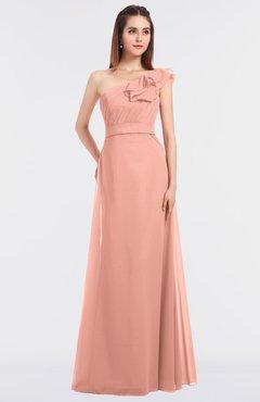 743f7dfaee1d ColsBM Kelsey Peach Elegant A-line Zip up Floor Length Ruching Bridesmaid  Dresses