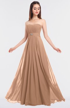 ColsBM Claire Almost Apricot Elegant A-line Strapless Sleeveless Appliques Bridesmaid Dresses