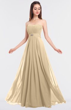ColsBM Claire Apricot Gelato Elegant A-line Strapless Sleeveless Appliques Bridesmaid Dresses