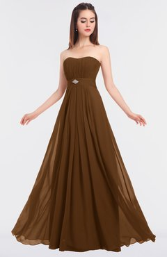 ColsBM Claire Brown Elegant A-line Strapless Sleeveless Appliques Bridesmaid Dresses