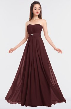 ColsBM Claire Burgundy Elegant A-line Strapless Sleeveless Appliques Bridesmaid Dresses