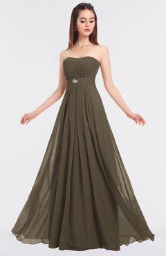 ColsBM Claire Carafe Brown Elegant A-line Strapless Sleeveless Appliques Bridesmaid Dresses