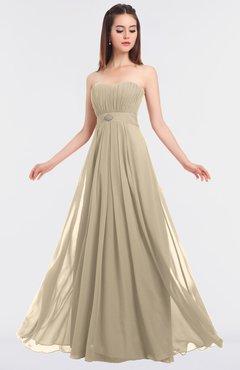 ColsBM Claire Champagne Elegant A-line Strapless Sleeveless Appliques Bridesmaid Dresses