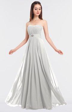 ColsBM Claire Cloud White Elegant A-line Strapless Sleeveless Appliques Bridesmaid Dresses