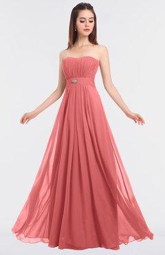 ColsBM Claire Coral Elegant A-line Strapless Sleeveless Appliques Bridesmaid Dresses