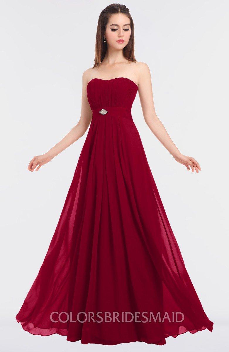 1f28bdc09873f ColsBM Claire Dark Red Elegant A-line Strapless Sleeveless Appliques Bridesmaid  Dresses