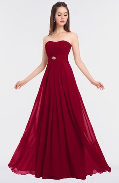 ColsBM Claire Dark Red Elegant A-line Strapless Sleeveless Appliques Bridesmaid Dresses