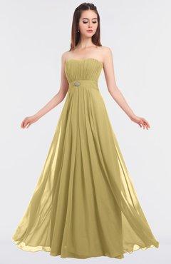 ColsBM Claire Gold Elegant A-line Strapless Sleeveless Appliques Bridesmaid Dresses