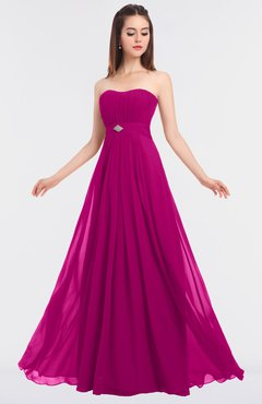 ColsBM Claire Hot Pink Elegant A-line Strapless Sleeveless Appliques Bridesmaid Dresses