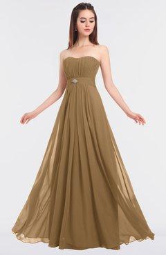 ColsBM Claire Indian Tan Elegant A-line Strapless Sleeveless Appliques Bridesmaid Dresses