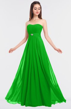 ColsBM Claire Jasmine Green Elegant A-line Strapless Sleeveless Appliques Bridesmaid Dresses