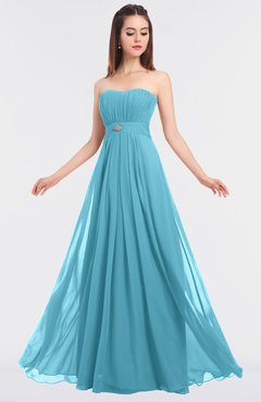 ColsBM Claire Light Blue Elegant A-line Strapless Sleeveless Appliques Bridesmaid Dresses